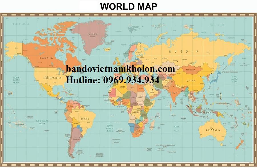 Bản đồ thế giới khổ lớn mẫu 30