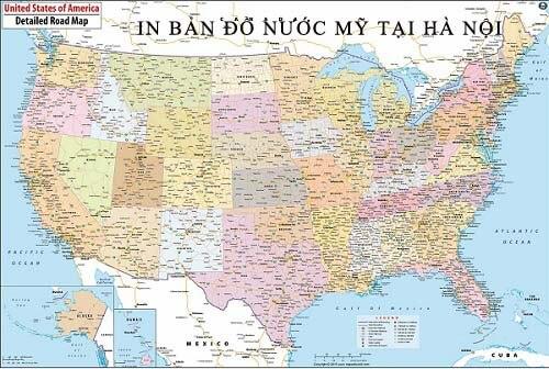 In bản đồ Nước Mỹ tại Hà Nội