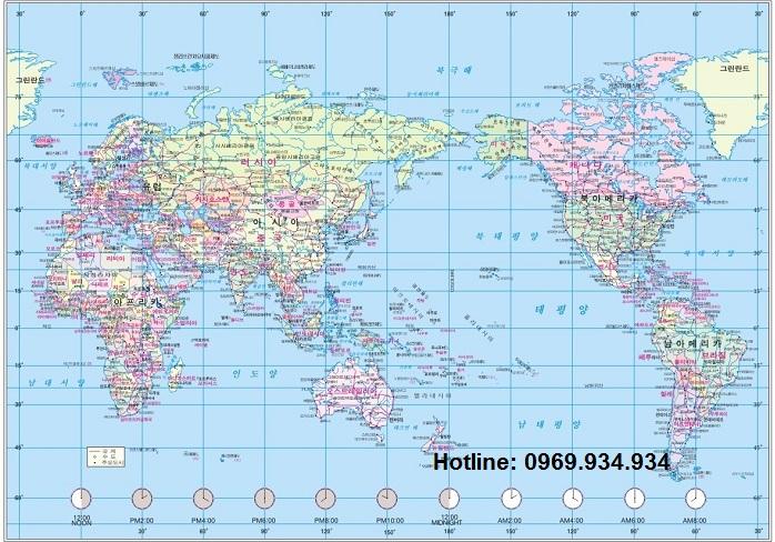 Bản đồ thế giới khổ lớn tiếng Hàn