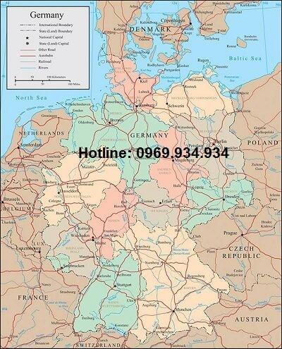 Bản đồ nước Đức khổ lớn