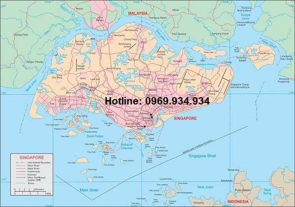 Bản đồ nước Singapore khổ lớn
