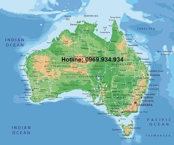 Bản đồ nước Úc khổ lớn