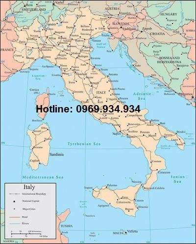 Bản đồ nước Ý khổ lớn
