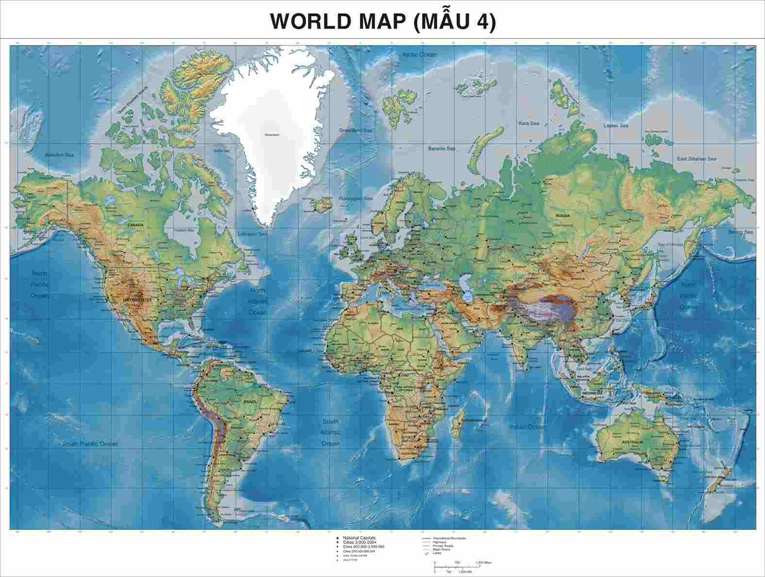 Bán bản đồ thế giới khổ lớn
