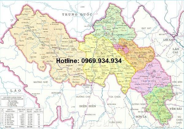 Bản đồ hành chính Lai Châu khổ lớn