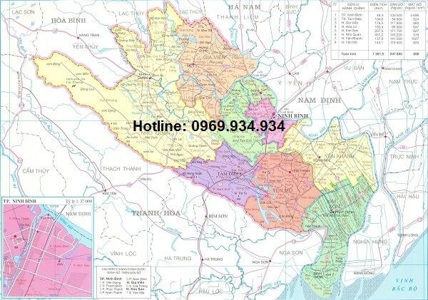 Bản đồ hành chính Ninh Bình khổ lớn