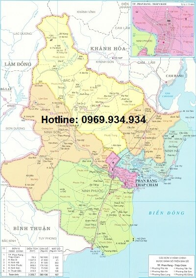 Bản đồ hành chính Ninh Thuận khổ lớn