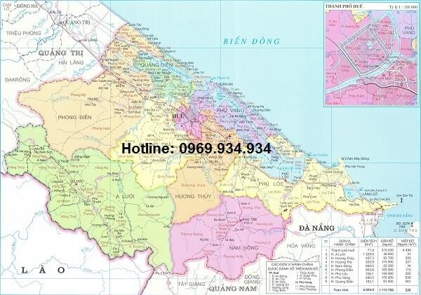 Bản đồ hành chính Thừa Thiên Huế khổ lớn