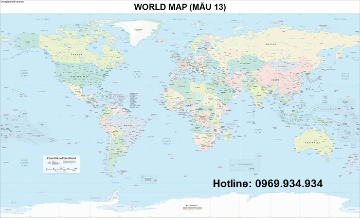 Bản đồ thế giới khổ lớn mẫu 13
