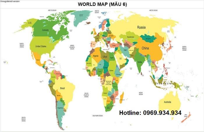 Bản đồ thế giới khổ lớn mẫu 6