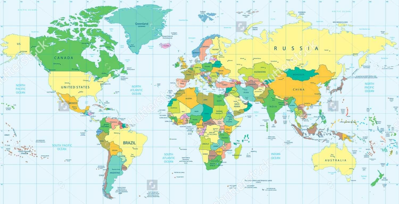 Bản đồ thế giới khổ lớn mẫu 32