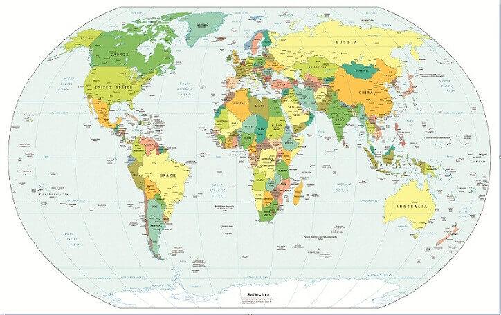 In bản đồ thế giới mẫu 40