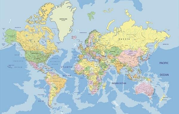 In bản đồ thế giới tại Hà Nội