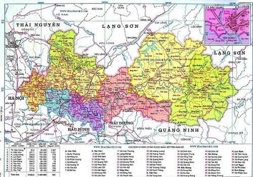 Bán bản đồ hành chính tỉnh Bắc Giang