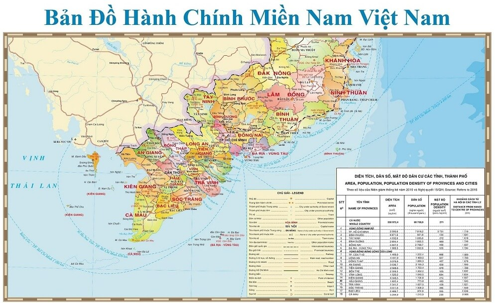 ban do mien nam viet nam south viet nam map