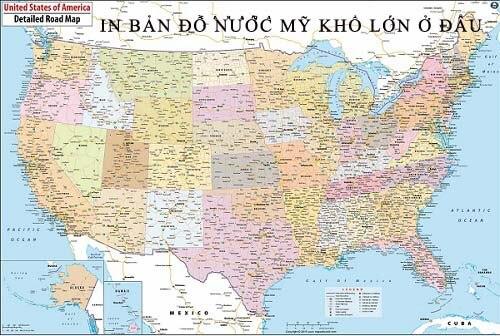 In bản đồ Nước Mỹ khổ lớn ở đâu