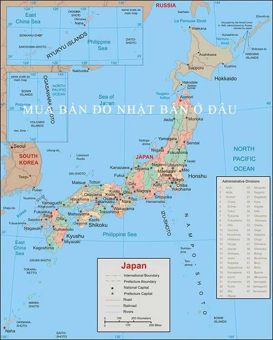 Mua bản đồ Nhật Bản tại Hà Nội