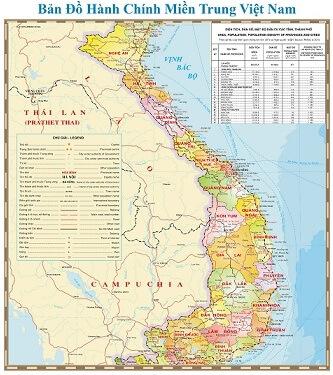 Bán bản đồ Miền Trung tại Đà Nẵng