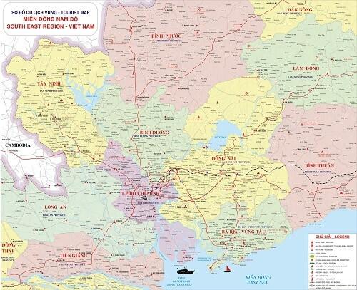 Bán bản đồ Đông Nam Bộ