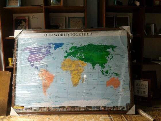 Đóng khung bản đồ Thế Giới khổ lớn