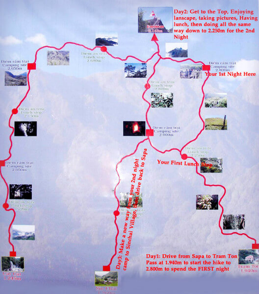 Các tuyến đường chính để leo núi
