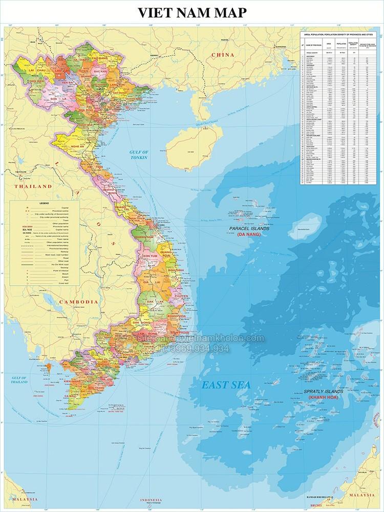Bản Đồ Việt Nam Tiếng Anh Mẫu 03