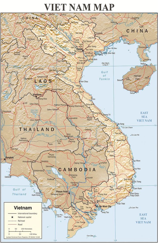 Bản Đồ Việt Nam Tiếng Anh Mẫu 04