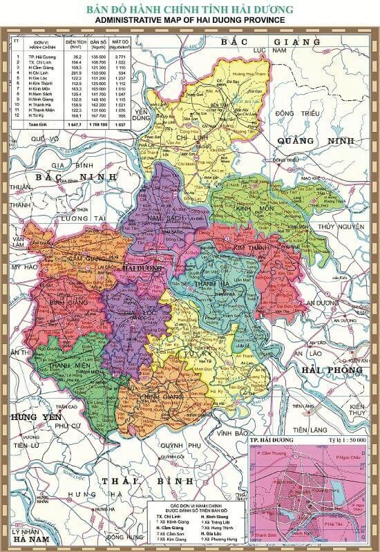 ban do tinh hai duong hai duong province vietnam map