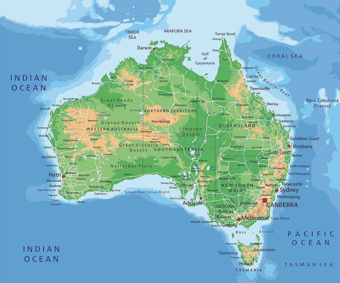 Bản đồ nước Úc nằm ở vị trí nào trên thế giới