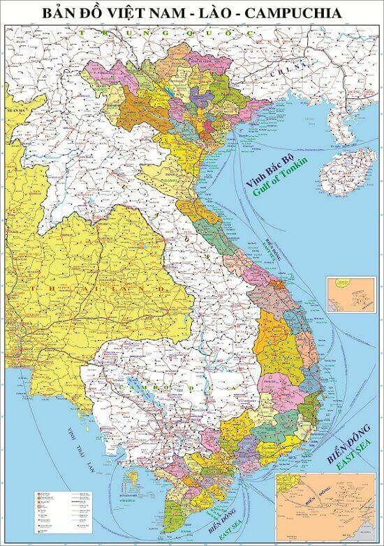 ban do ba nuoc dong duong viet nam lao cambodia map