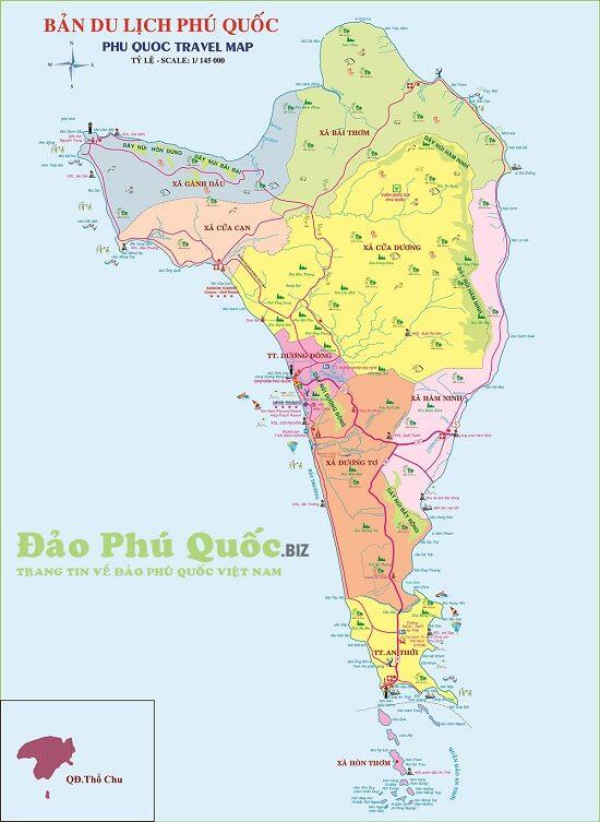 Bản đồ Phú Quốc về hành chính giao thông du lịch