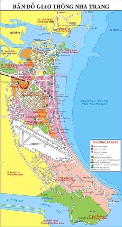 Bản Đồ Thành Phố Nha Trang về giao thông, du lịch