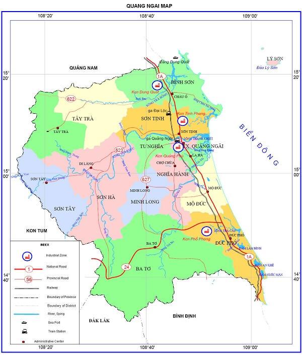 Bản Đồ Quảng Ngãi (Quang Ngai Province Vietnam Map)