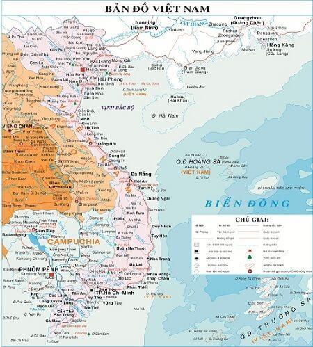 viet nam lao cambodia map