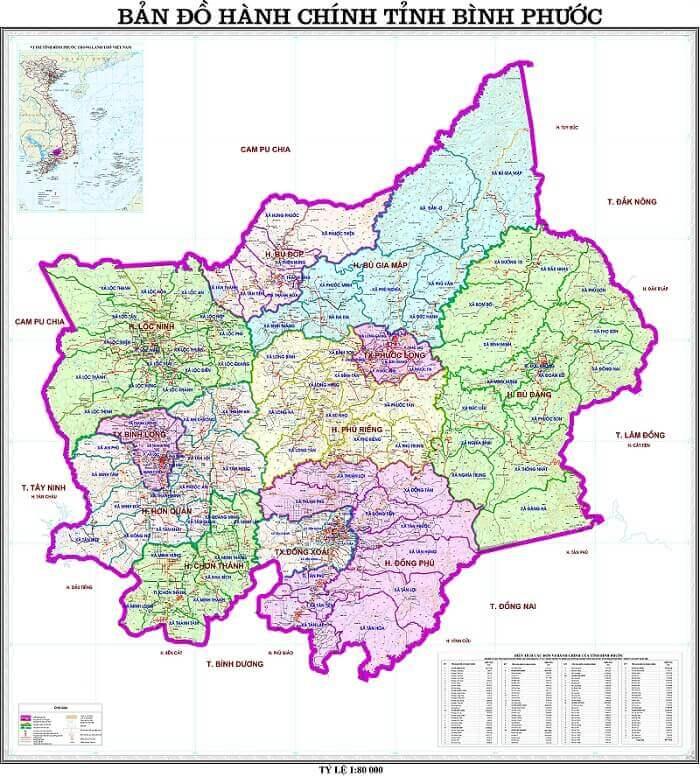 Bản Đồ Bình Phước (Binh Phuoc Province Vietnam Map)