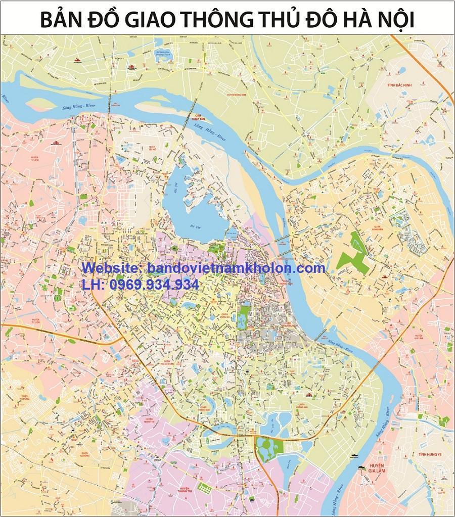 Bản đồ giao thông Hà Nội khổ lớn 4