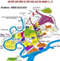 Bản đồ quy hoạch sơ đồ chỉ dẫn vị trí các dự án quận 2 quận 9